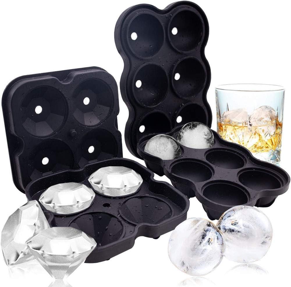 Silicone Ice Cube Molds, 2PCS Ice Cube Trays Silicone Combo Mold, Round Ice Ball Maker Diamond Ice Maker