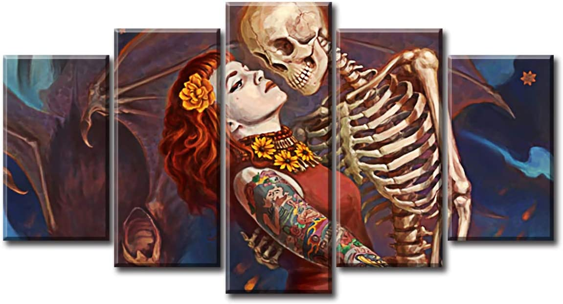 Amazon Com Skull And Girl Love Wall Art Decor Day Of The Dead Halloween Theme Canvas Prints Painting Pictures Posters Artwork Modern 5 Piece Living Room Home Decorations Framed Stretched Ready To