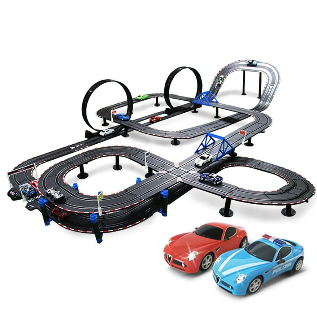 Juguetes de exploración Juguete de riel para niños riel remoto, juguete de carreras de doble riel carreras de velocidad interactiva entre padres e hijos juguete de carreras de rompecabezas juguete ens