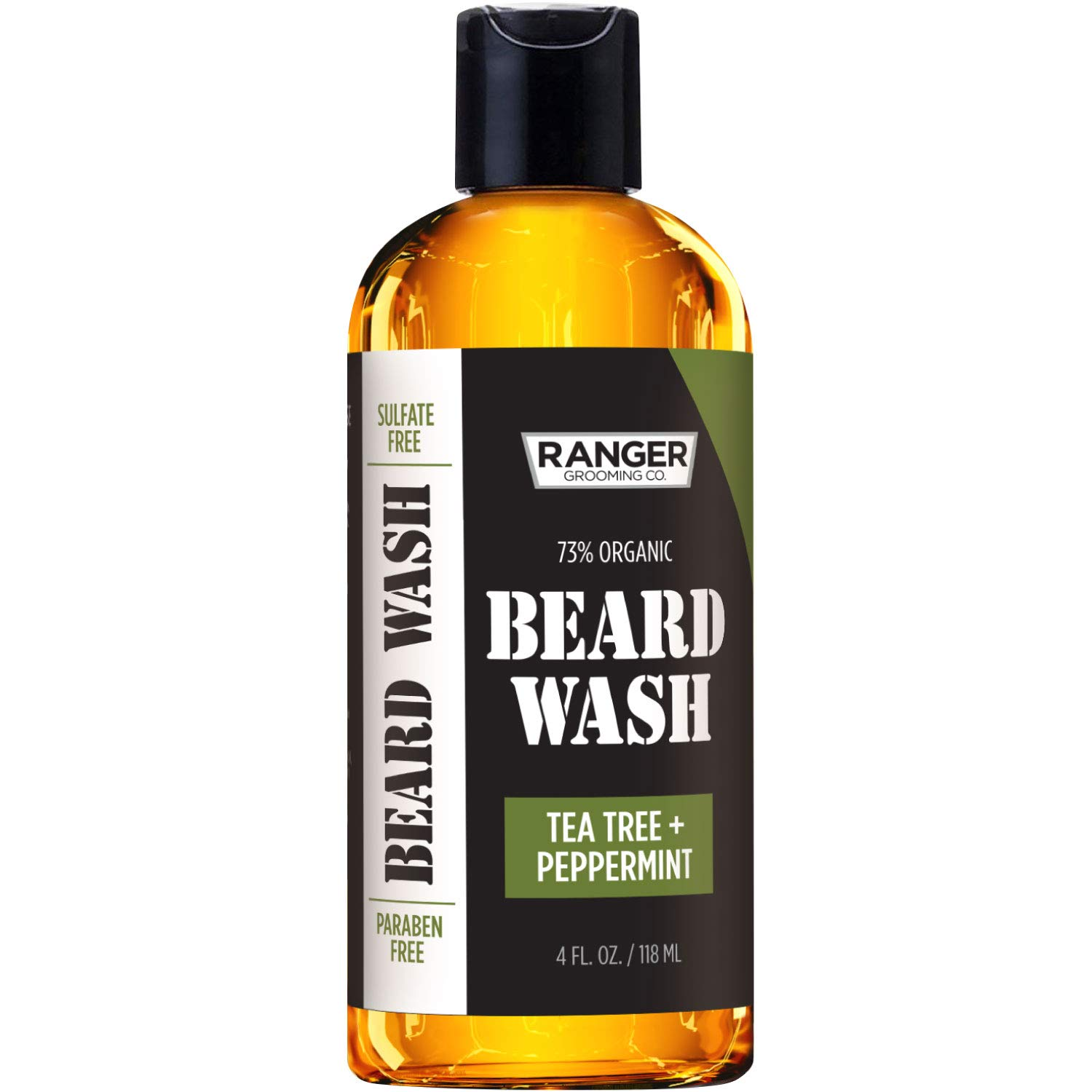 Beard Wash Shampoo by Ranger Grooming Co by Leven Rose, Natural Beard Cleanser & Conditioner for Men, Tea Tree & Peppermint Scented for Growth & Thickening, Sulfate & Paraben Free 4 oz