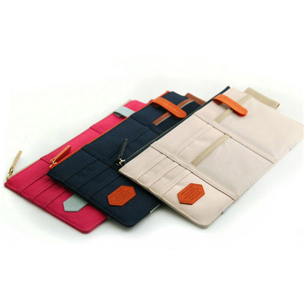 Three Colors Leadallway Multi-function Car Sun Visor Card Phone Storage Pouch Car Necessities