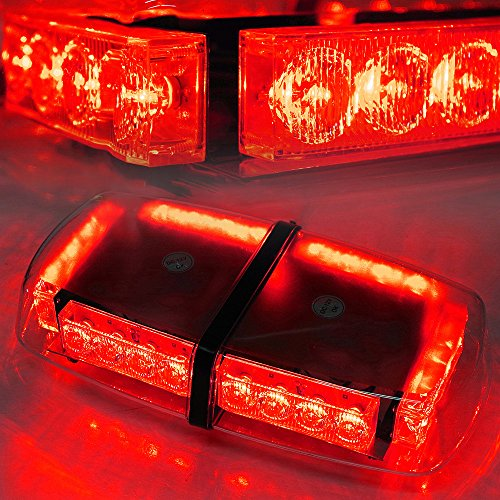 Xprite Red High Wattage Law Enforcement Emergency Hazard Warning LED Mini Bar Roof Top Strobe Light with Magnetic Base