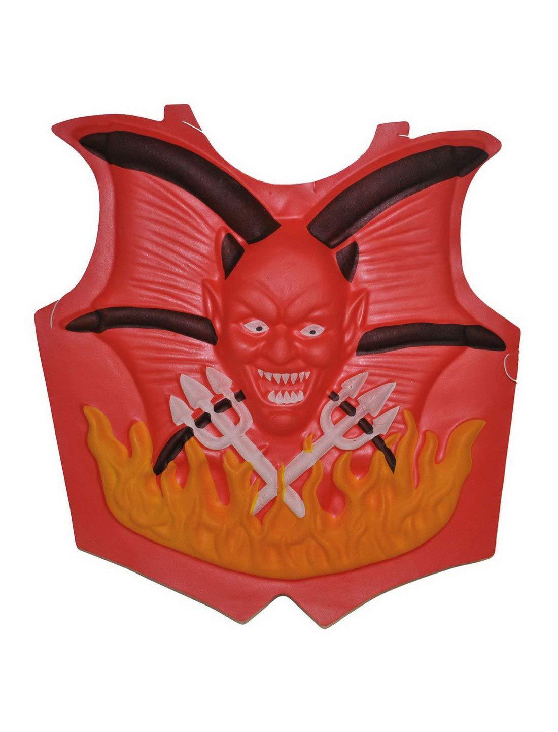 Halloweenia – Accesorio para Disfraz de Halloween, Cartel de Pecho con Diablo, Chest Cover Devil, Halloween Carnaval y Carnaval, Rojo