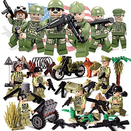Mini Figures Set - 8 Piece Army Minifigures, Army Minifigures Soldier with Military Weapons Accessories Soldier Minifigures, World War II Hacksaw Ridge WW2 USA Army Soldiers Figure Sino-Japanese Milit