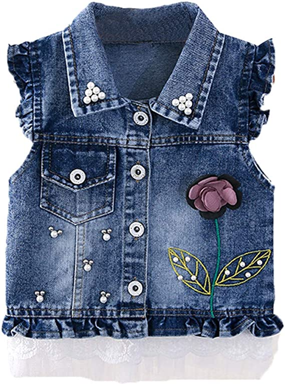 Girls Denim Gilet Blue Jean Jacket Sleeveless Waistcoat Age 3 7 8 9 10 12 Years