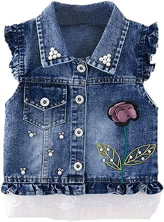 LittleSpring Little Girls Denim Vest Sleeveless Jean Jacket Casual