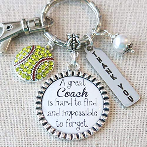 (SOFTBALL COACH GIFT, Softball Coach Thank You Keychain, A Great Coach is Hard to Find and Impossible to Forget Gift for Softball Coach, Softball Team Gift for Coach)