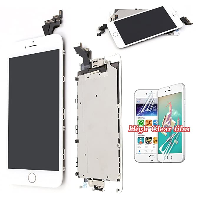 hot sale online 80479 e9a37 recyco Compatible LCD Screen Replacement for iPhone 6 Plus - White Full  Replacement Touch Digitizer with Home Button + Sensor+Front Camera Frame ...