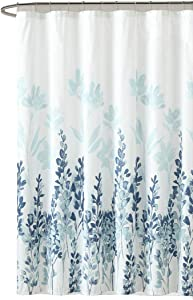 Desilife Home Fabric Waterproof Shower Curtain with Rust Proof Grommet &12 Hooks (72 inch by 72 inch) Bathroom Bathtub Curtain Floral Print Blue