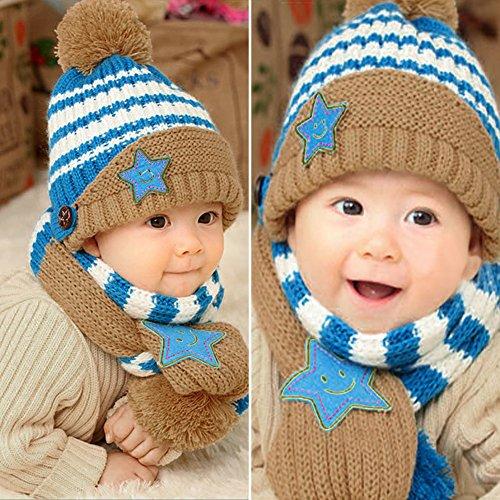 Domybest 2pcs Set di Cappello Pesante + Sciarpa di Lana Cappello e Sciarpe  Infantili Invernali per Neonati 47e2a5be045d
