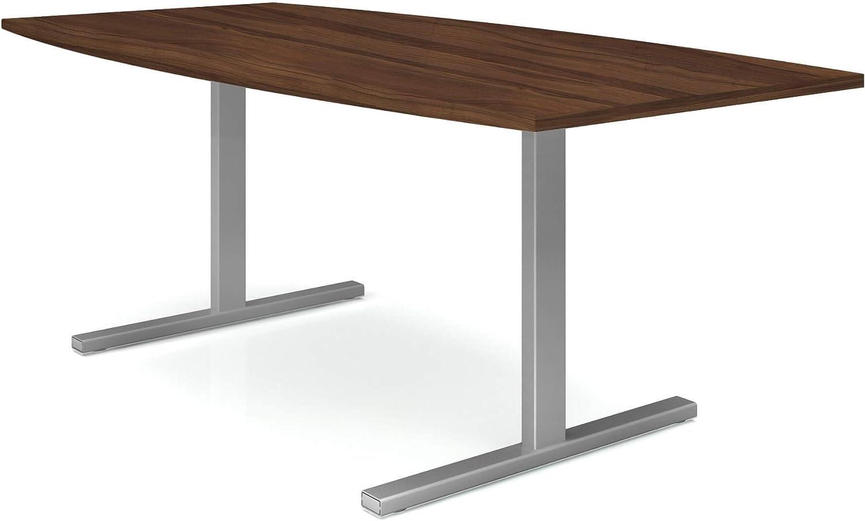 Gestellfarbe:Anthrazit Weber B/üroleben GmbH Easy Konferenztisch Bootsform 180x100 cm Nussbaum Besprechungstisch Tisch