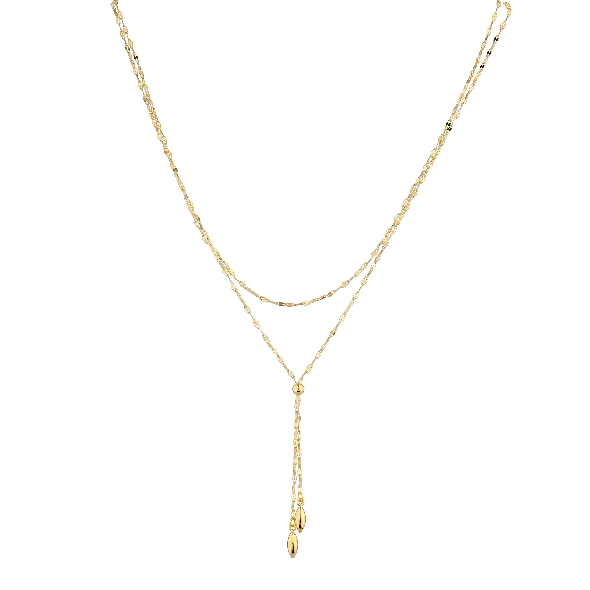 14K Yellow Gold Double Lariat Strand Necklace 17''