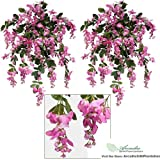 """Fuchsia Pink Wisteria Bush with 45 Branches - 31"""" Long"""