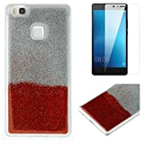 For Huawei P9 Lite Glitter Case with Screen Protector,OYIME Luxury Shiny Design Ultra Thin Slim Fit Soft Silicone Rubber Bumper Scratch Resistant Protective Back Cover - Red