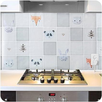 3pcs Kitchen Pvc Aluminum Foil Self Adhensive Mosaic Stickers Oil Proof Wallpaper Wall Stickers Bathroom Waterproof Wall Sticker Animals
