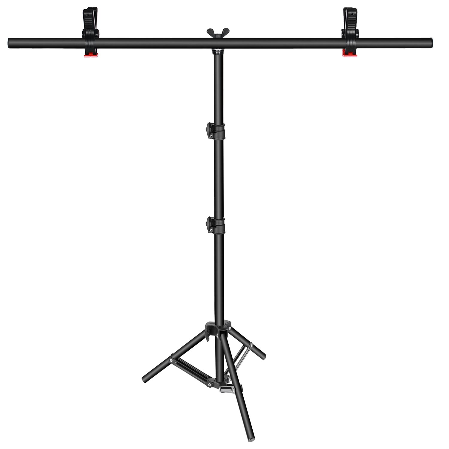 Neewer T-shape Background Backdrop Support Stand Kit: 32-80 inches/81-203 centimeters Adjustable Tripod Stand and 35.4 inches/90 centimeters Crossbar with 2 Tight Clamps for Video Studio Photography by Neewer