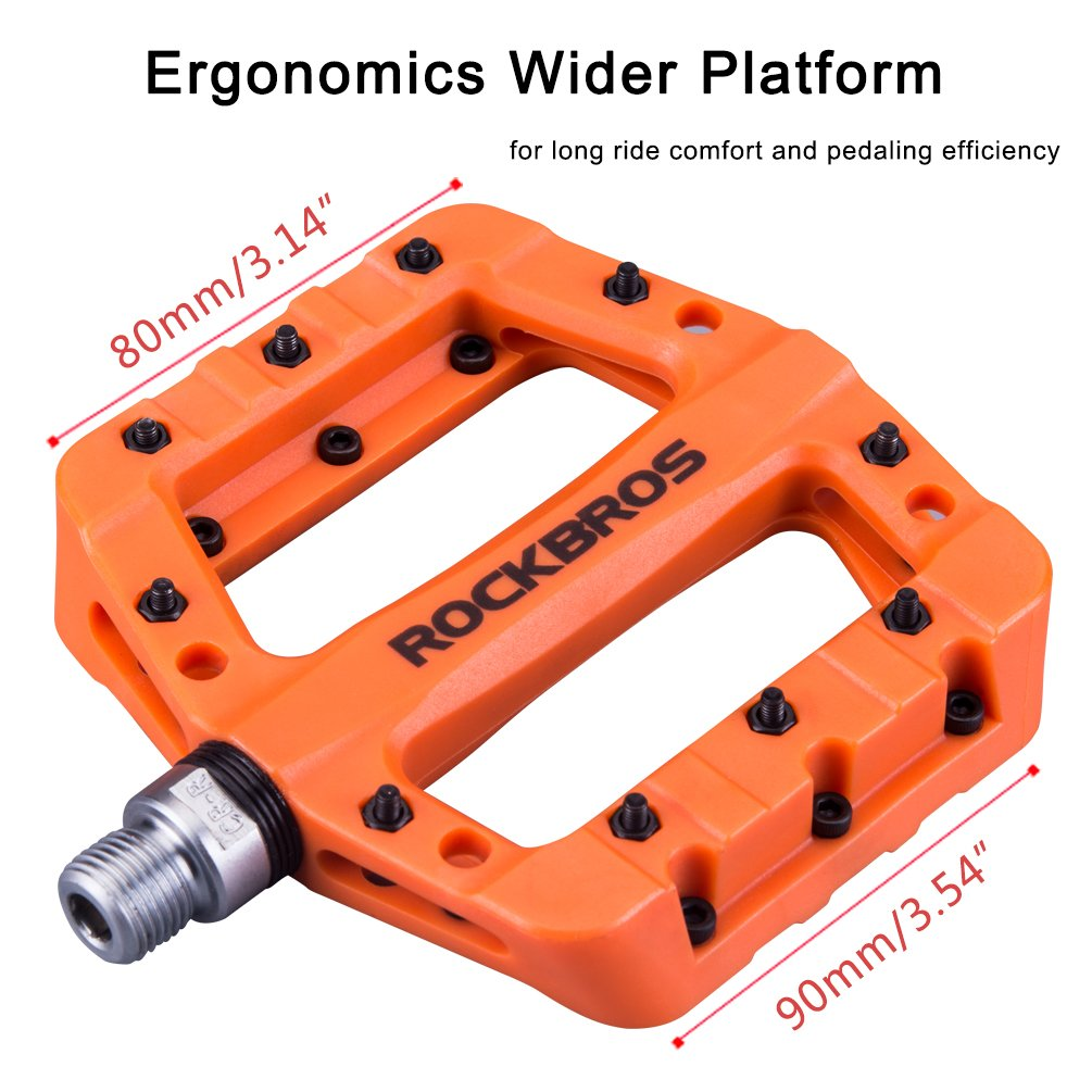 RockBros Lightweight Mountain Bike Pedals Nylon Fiber Bicycle Platform Pedals for BMX MTB 9/16'' Orange by ROCK BROS (Image #4)