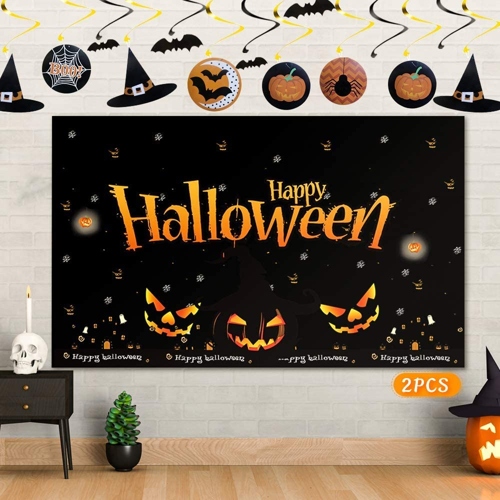 Halloween Background Banner Halloween Hanging Swirls, Halloween Backdrops Halloween Decoration Kit Halloween Party Decor for Photography Halloween Hanging Decor for Holiday Birthday Party Backdrop