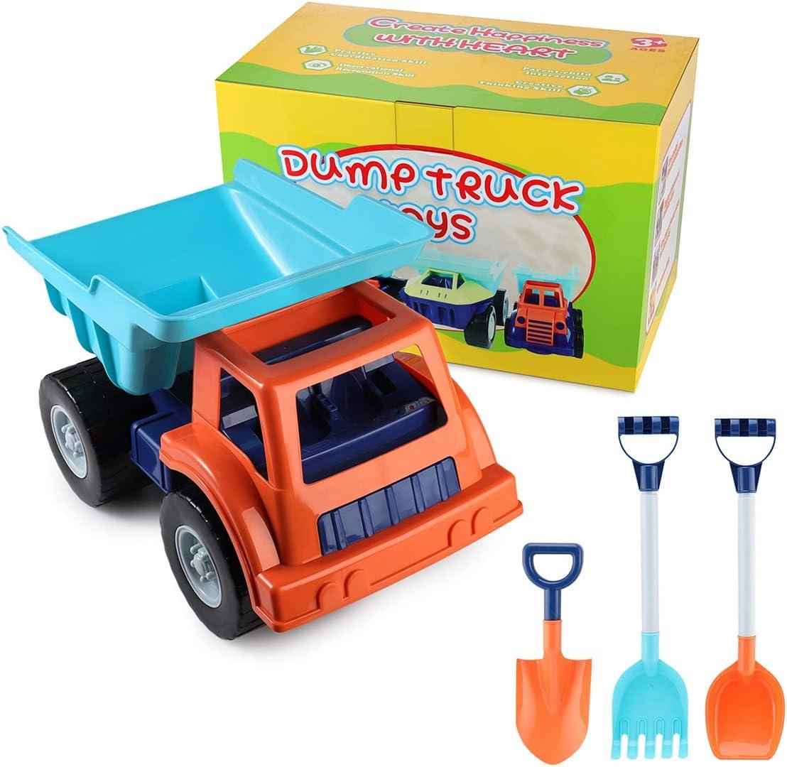 SHANNA Camión de Juguete Grande, Dumper Juguete de Playa y Arena para Niños Vehículo Grande con Rastrillo de Palas Grandes para Cumpleaños de Niños/Regalos Navideños (Camión B)