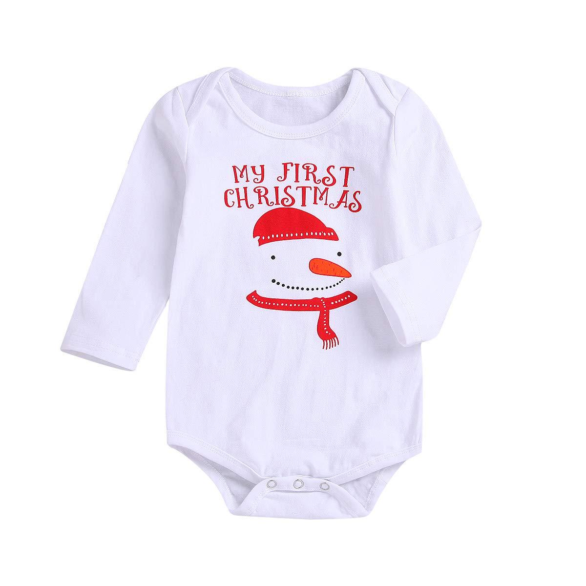 OCEAN-STORE Newborn Baby Girl Boy Snow Man Print Romper Jumpsuit Clothes ON-12 ON-123
