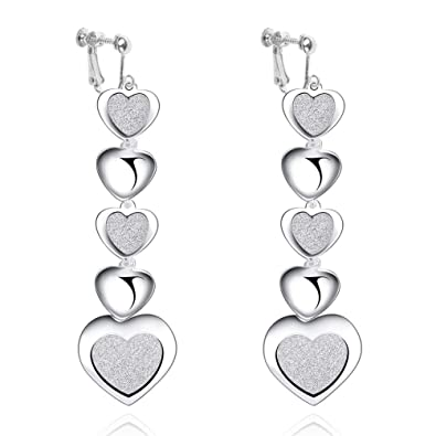 Clip on Earrings Silver Plated Double Twist Heart Wave Long Tassels Drop Dangle Earrings for Girls Teen