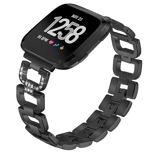 Correa de repuesto para Fitbit Versa, de lujo, con cristales brillantes, de acero inoxidable, de metal, para reloj inteligente Fitbit Versa, color negro: ...
