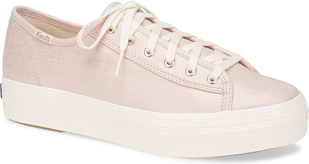 Keds Womens Triple Kick Metallic Linen Sneakers