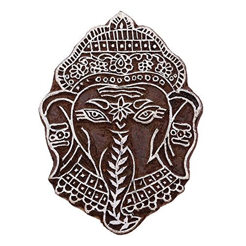 Indian Decorative Lord Ganesha Printing Block Wooden Textile Brown Border Stamp