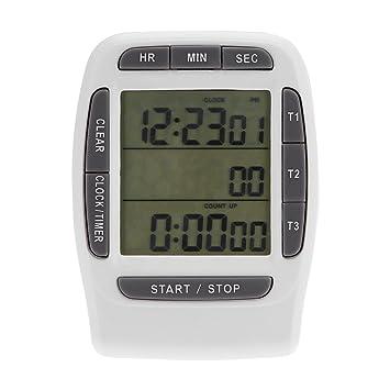 3 Canales LCD Temporizador Digital Temporizador de Cocina Sincronización Precisa Reloj Cuenta Regresiva: Amazon.es: Hogar