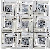 #5: Intrend Tile LS012-H Landscape Wonder White Quartzite Blend Basketweave Pattern Mosaic, White/Grey