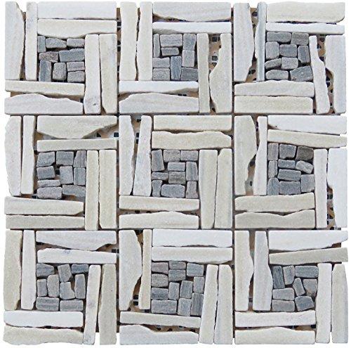 Tile Pattern Basketweave (Intrend Tile LS012-H Landscape Wonder Quartzite Basketweave Pattern Mosaic Blend, Sheets, White/Gray)