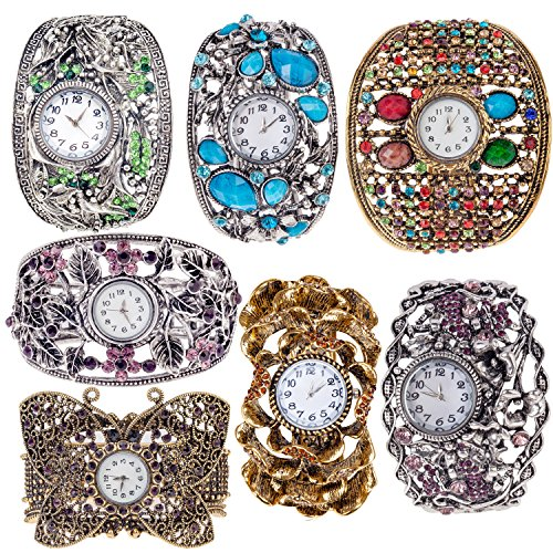 Set / Kit / Lot of 7pcs Ladies Womens Metal Analogue Quartz Wrist Watches Bangles / Bracelets Wristwatches In Art Nouveau Style, Silver and Golden Colors Embellished With Rhinestones / Crystals