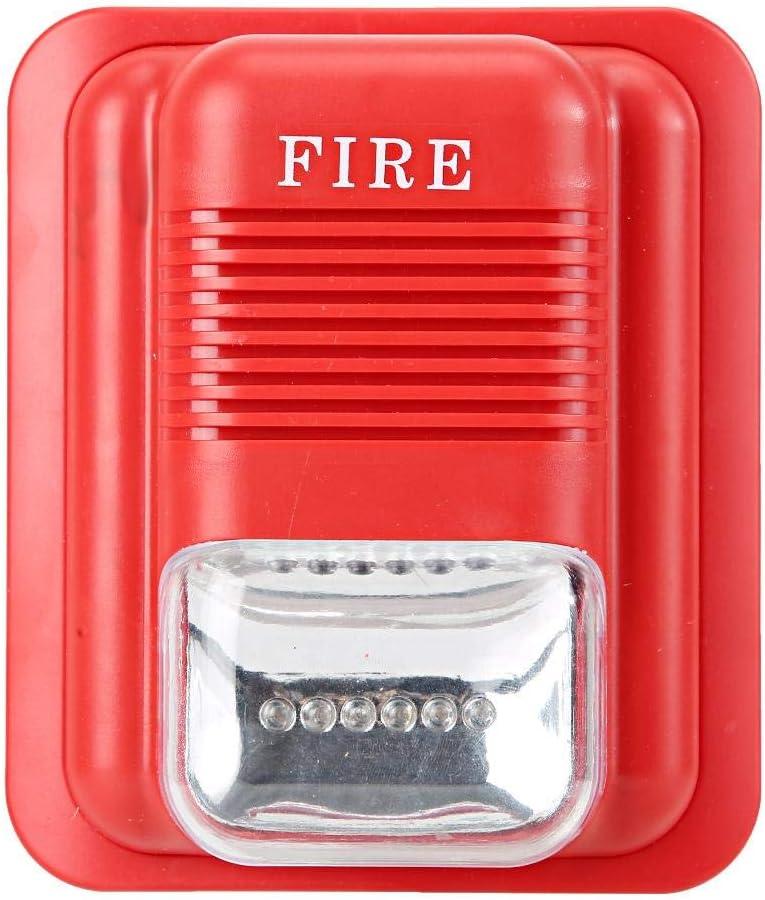 DC12V/24V Alarma de Protección contra Incendios de Sonido Y Luz, Sistema de Seguridad de Alerta de Sirena Estroboscópica de Advertencia, Alarma de Audio de Sirena 105DB, 6 LED Incorporados