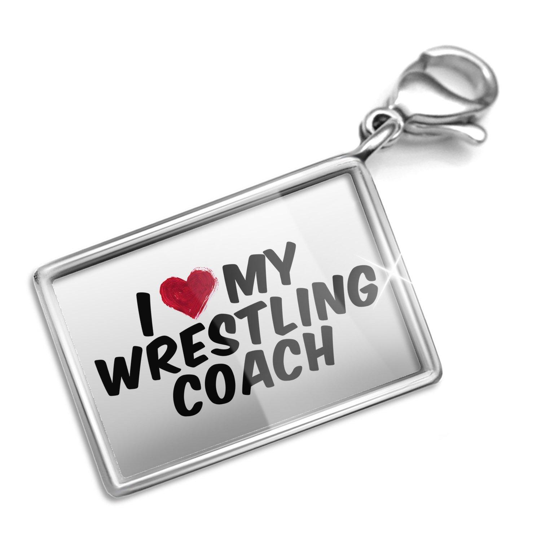 Clip on Charm & Bracelet Set I heart love my Wrestling Coach Lobster Clasp