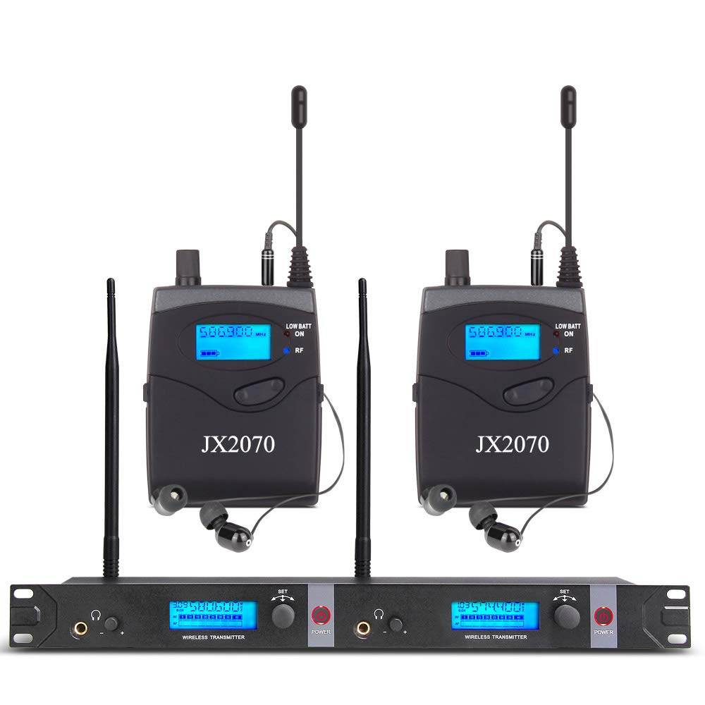 Audio UHF Wireless in Ear Monitor System JX2070 with 2 Receivers 80 Channel Monitoring Recording Studio Stage Pro Audio