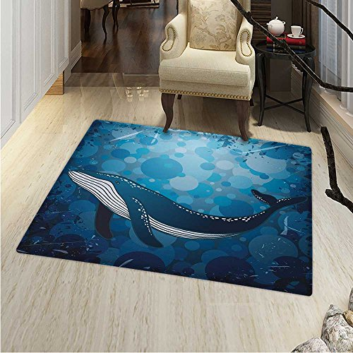 Whale small rug Carpet Vintage Whale Poster Motif on Marine