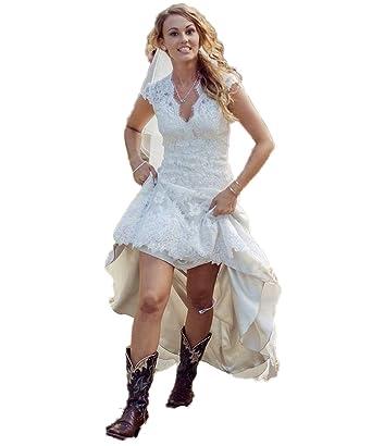 Hot Dresses Vintage High Low Wedding Dress V Neck Capped Bridal Gown