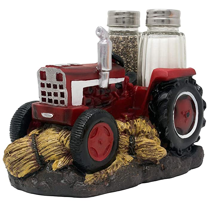 Classic Red Farm Tractor Salt and Pepper Shaker Set in Antique Look As Decorative Spice Rack for Rustic Country Kitchen Décor and Old Fashioned Table Decorations As Vintage Model Gifts for Men