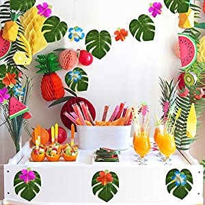 """Kuuqa 60 Pcs Tropical Party Decoration Supplies 8"""" Tropical Palm Monstera Leaves and Hibiscus Flowers, Simulation Leaf for Hawaiian Luau Party Jungle Beach Theme Table Decorations 5"""