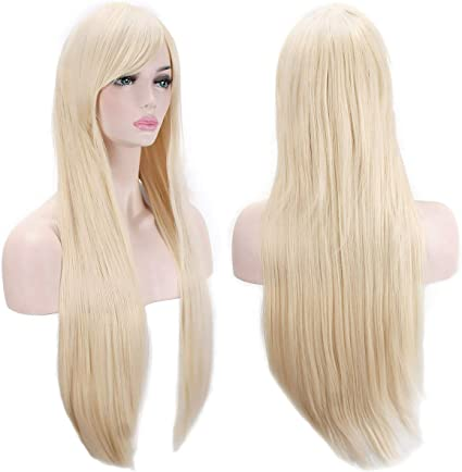 Blonde AKStore Wigs 32 80cm Long Straight Anime Fashion Womens Cosplay Wig Party Wig with Free Wig Cap
