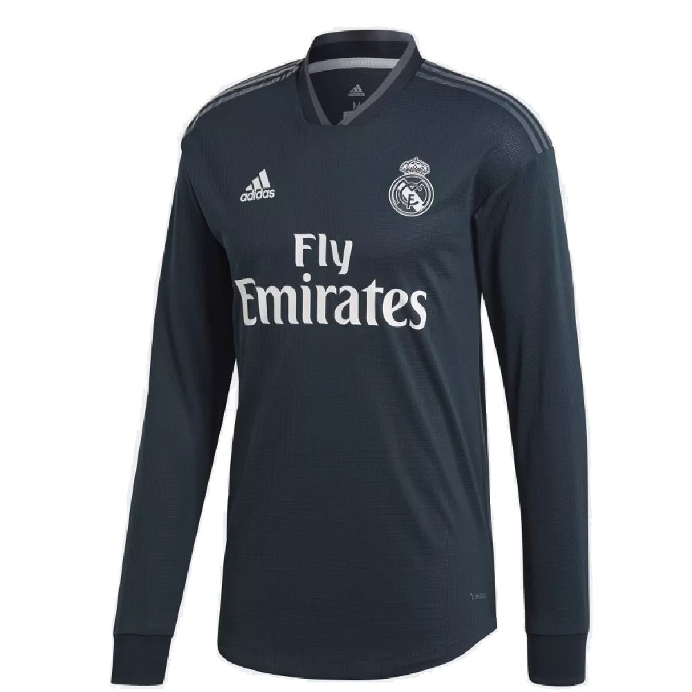 294791bac Amazon.com   adidas 2018 19 Mens Real Madrid Away Authentic Long Sleeve  Jersey Large Tech Onix Bold Onix White   Sports   Outdoors