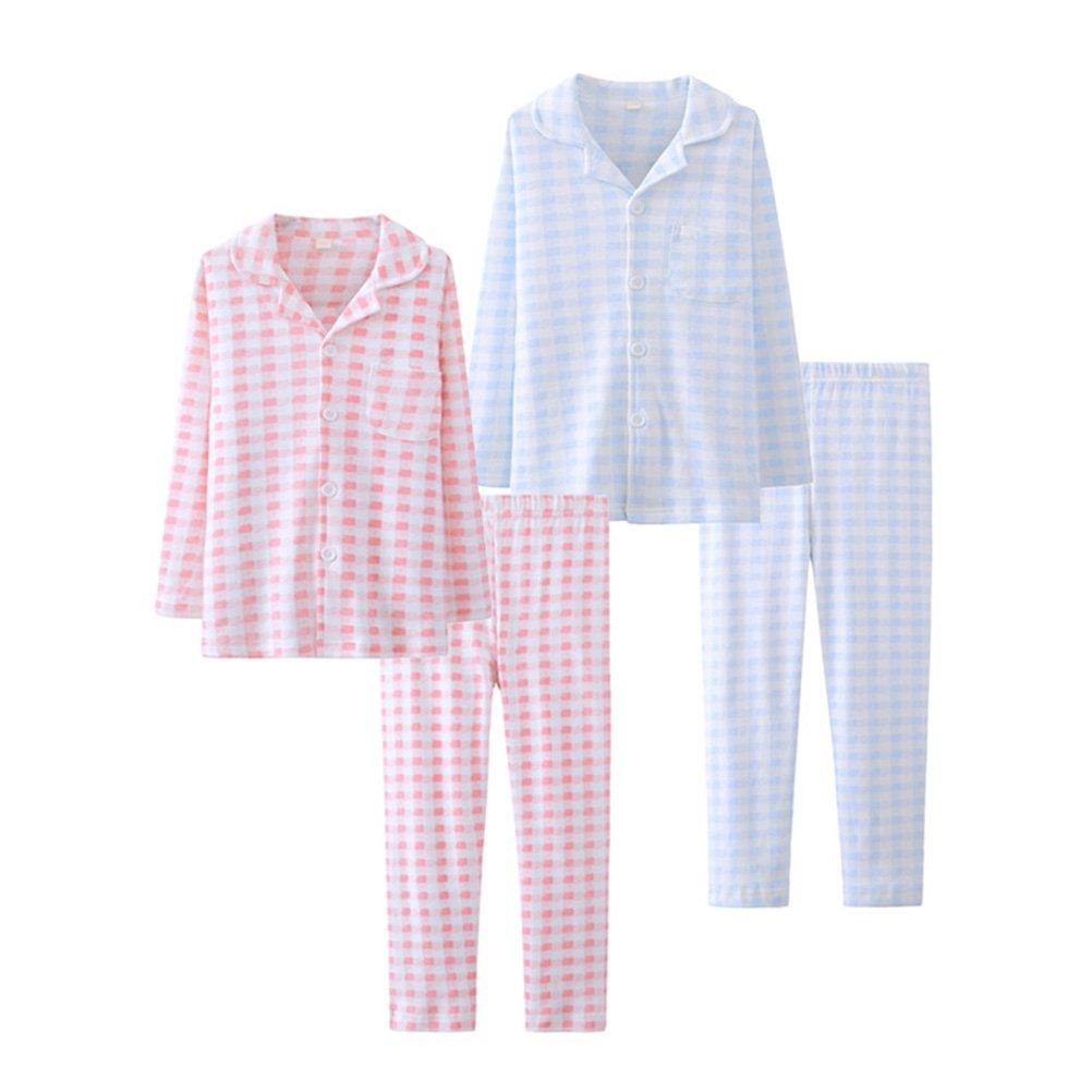 Zhuhaitf Two pieces Long sleeves Cotton Sleepwear Unisex Kid Lattice Pajamas Set