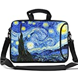 HAOCOO Stylish Artwork Design Ultraportable Waterproof Neoprene Laptop Bag Sleeve with Padded Handle, Adjustable Shoulder Strap & External Side Pocket, Fits 17-17.3 Inch Laptops, Starry Night