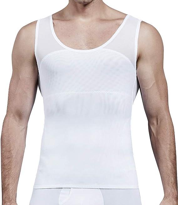 MISS MOLY Faja Reductora Camiseta de Tirantes Compresión para Hombre Chaleco Adelgazante Abdomen Camisa Moldeador Body Shaper Ropa Interior para Ocultar Ginecomastia Moobs: Amazon.es: Ropa y accesorios