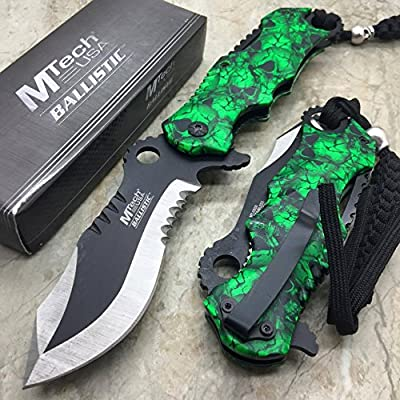 M-TECH CRACK Green Skull Stainless Steel Tactical Camping Hunting Pocket Knife