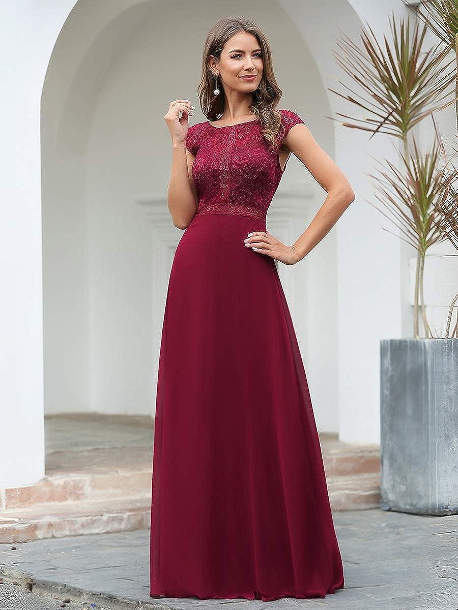 Ever-Pretty Womens Elegant Round Neck Cap Sleeve Floor Length A Line Lace Chiffon Classic Evening Dresses 00737