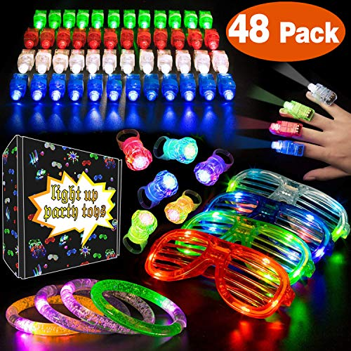 Shades Jewelry (Mazuly 48 Pack LED Light Up Toy Glow In The Dark Party Favors Supplies with 20 LED Finger Lights 20 Flashing Bumpy Rings 4 Slotted Shades Glasses 4 Glow Bracelet Christmas Birthday Party for Kids Gift)