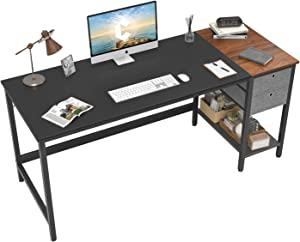 Cubiker Computer Home Office Desk, Desk with Drawers 55 inch Study Writing Table, Modern Simple PC Desk, Black and Espresso