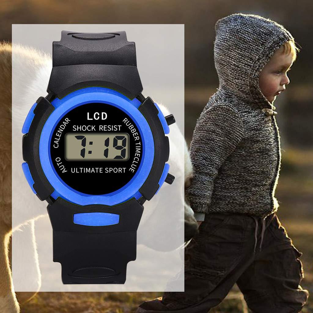 Reloj Infantil Analógico Digital Relojes Led Electronico Reloj De Pulsera Impermeable Kelry (Azul): Amazon.es: Relojes