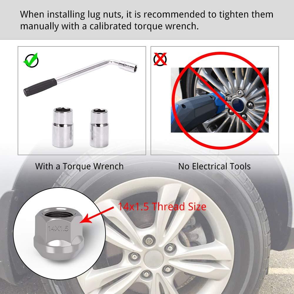 M12x1.5 Wheel Lug Nuts 1.46 Tall 0.83 Hex with Washer Compatible for Toyota Lexus Scion Isuzu LEDKINGDOMUS Lug Nuts 12x1.5 Mag Seat Chrome